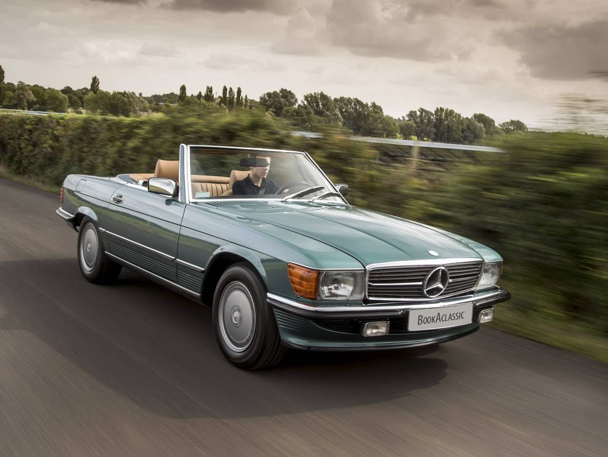 mercedes benz 560 sl for hire in stratford upon avon