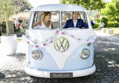 Volkswagen Camper Van, perfect car to hire for bride and groom going to wedding reception